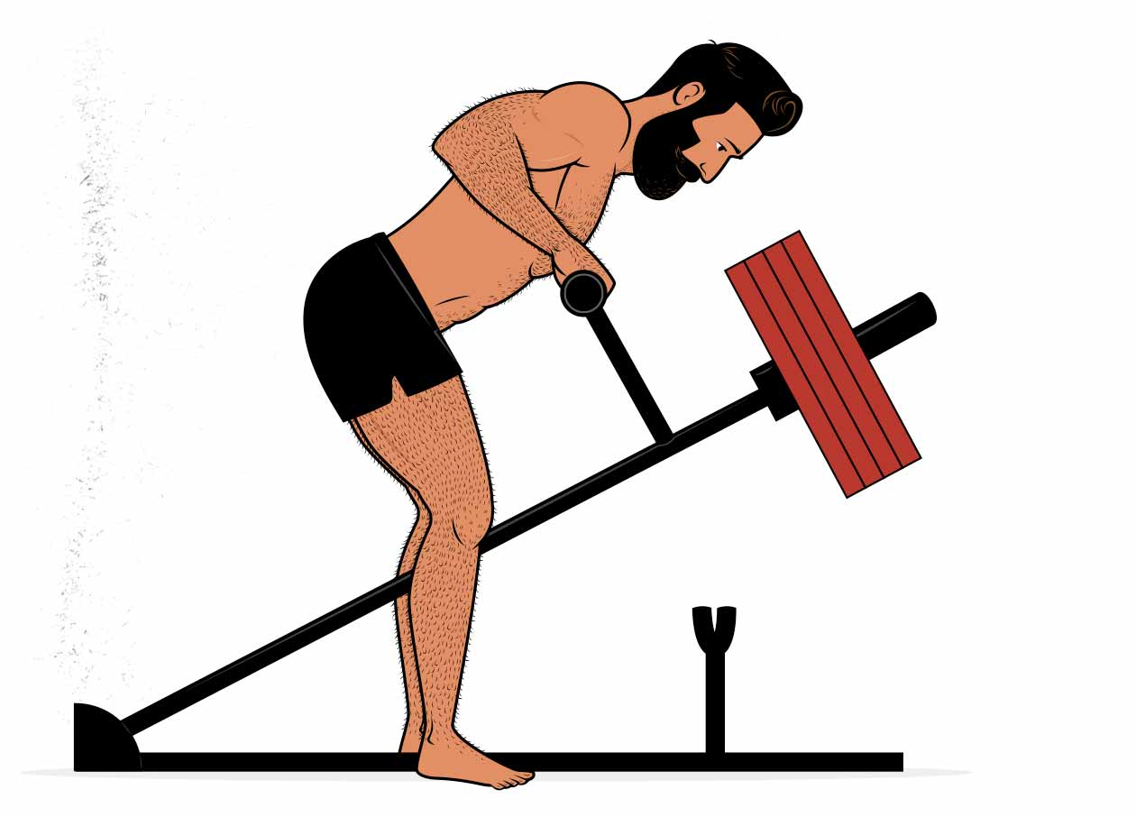 Illustration of a man using a t-bar row machine with his back unsupported.