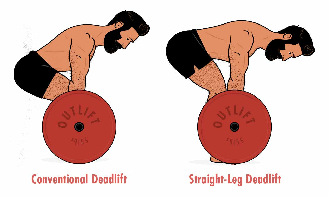An illustration showing the differences between a conventional vs a straight-leg deadlift.