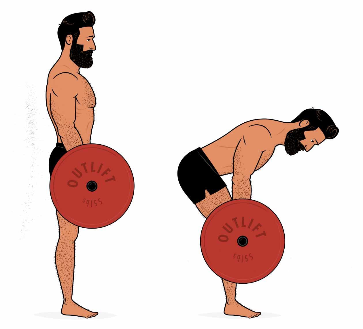 Ilustración mostrando cómo hacer el peso muerto rumano.