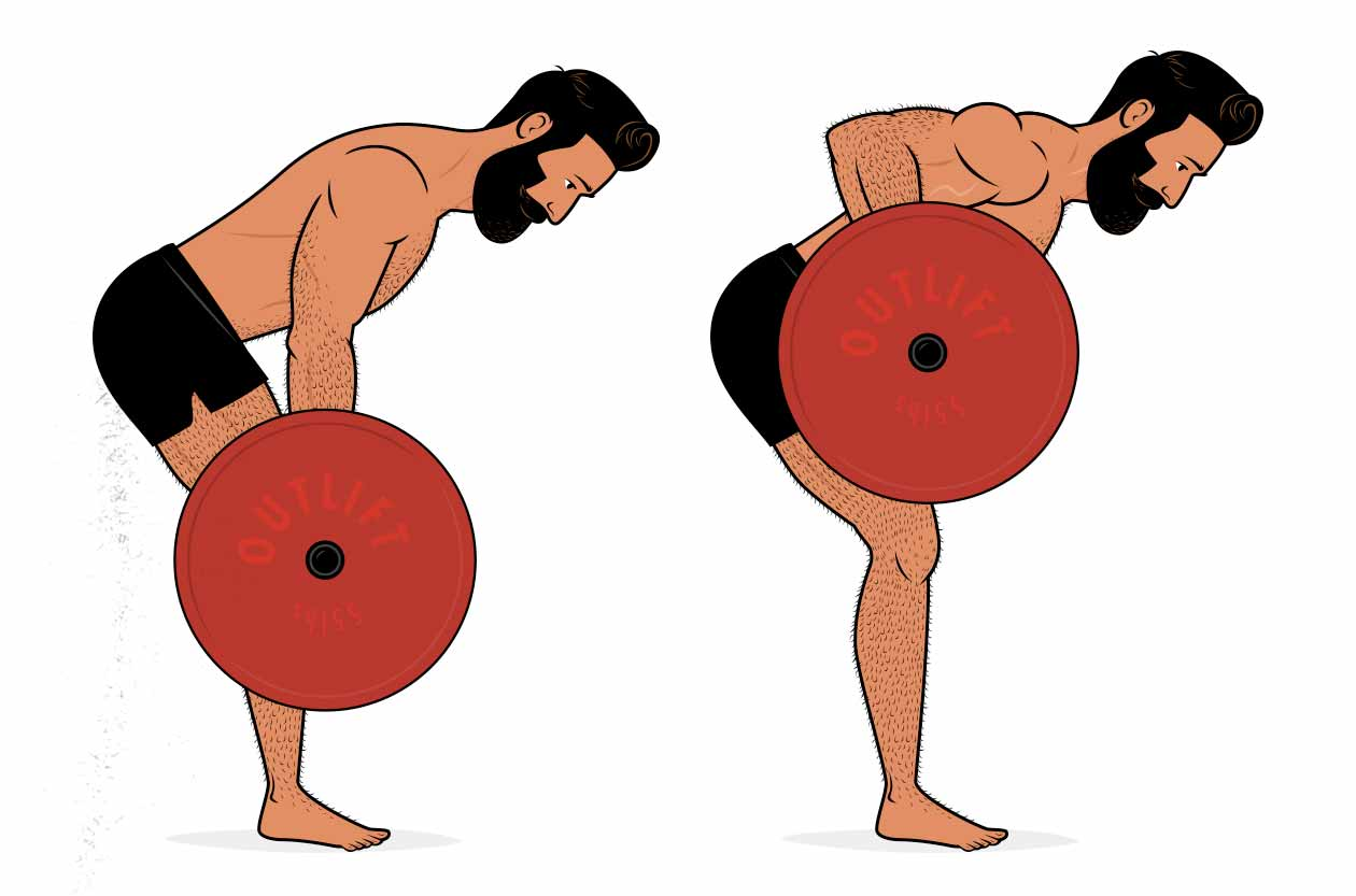 Illustration of a man doing a barbell row for muscle size.