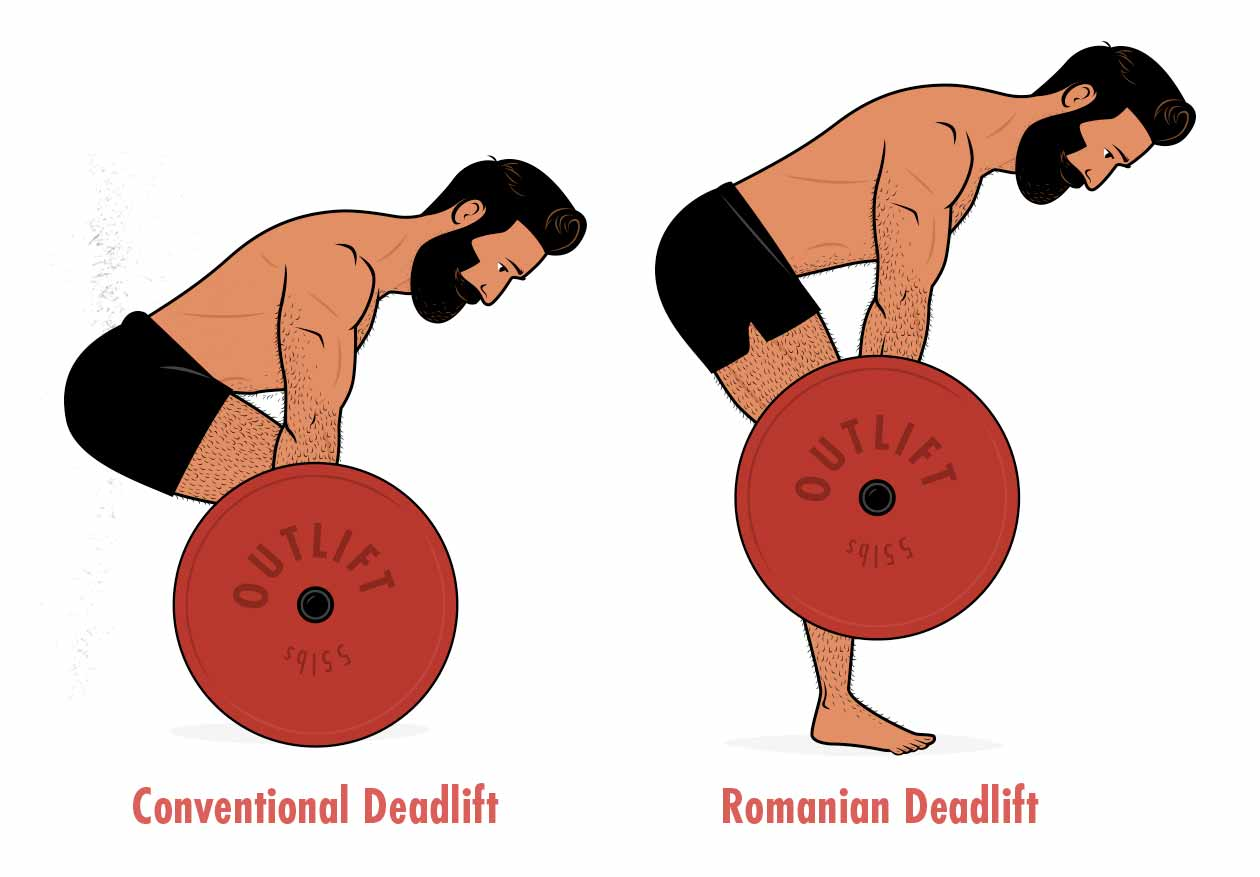 An illustration showing the differences between a conventional deadlift vs a Romanian deadlift