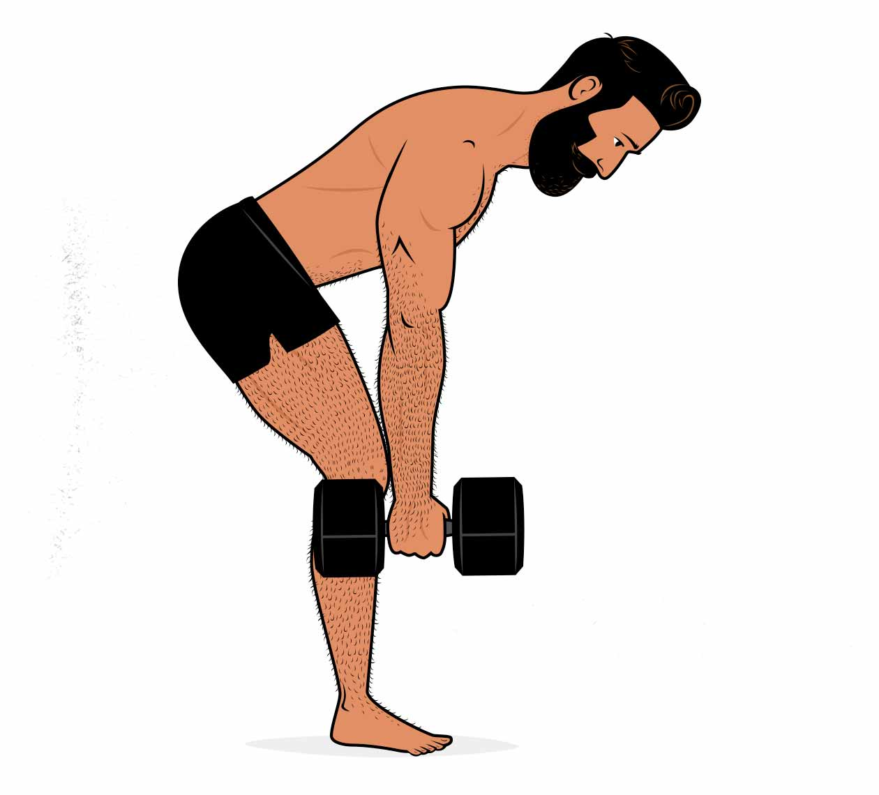 Illustration of a man doing a dumbbell version of the barbell row.