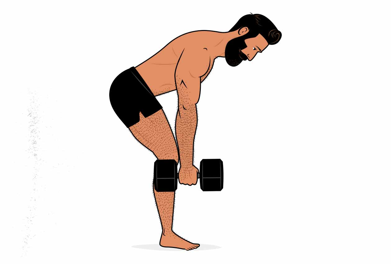 Illustration showing a dumbbell alternative for the Romanian deadlift.
