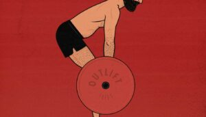Illustration showing a man doing a barbell deadlift.