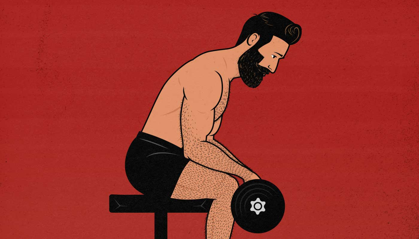 Illustration showing a man doing wrist curls to build bigger forearms.