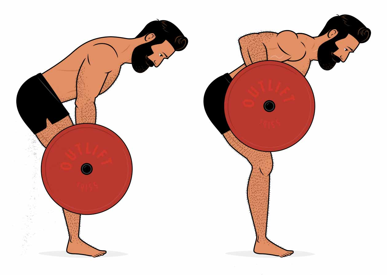 Illustration of a man doing the Yates row variation of the bent-over barbell row.