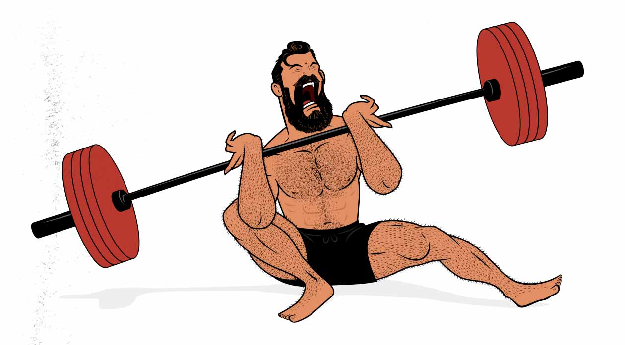 Illustration of a bodybuilder taking a set of squats to muscular failure.