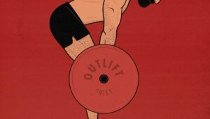 Outlift illustration showing a man doing a barbell Romanian deadlift to build muscle in his hips.