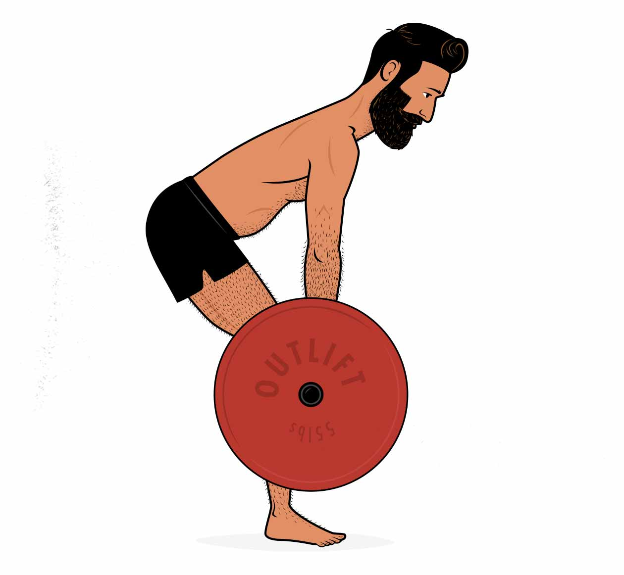 Illustration of a skinny fat man doing a barbell deadlift to build muscle and burn fat.