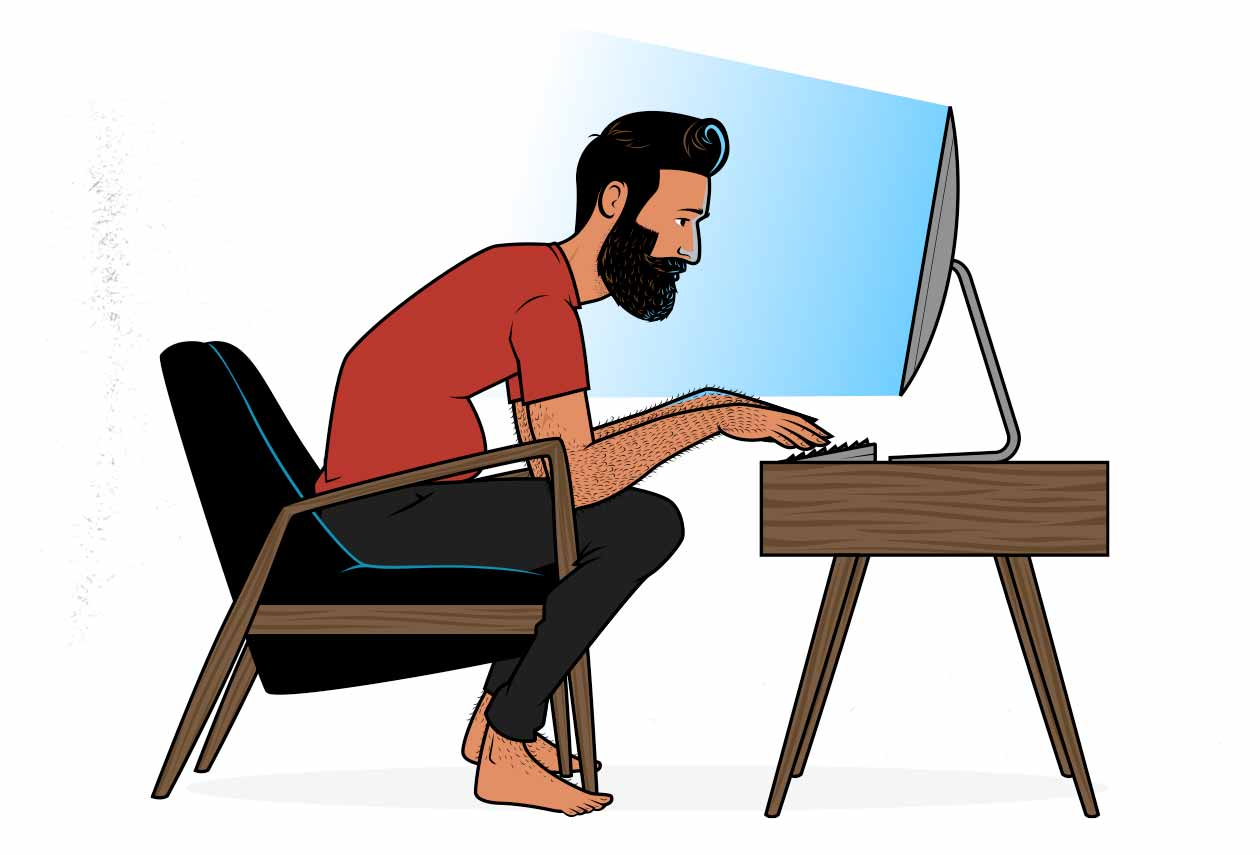 Illustration of a skinny man with belly fat sitting at a desk.