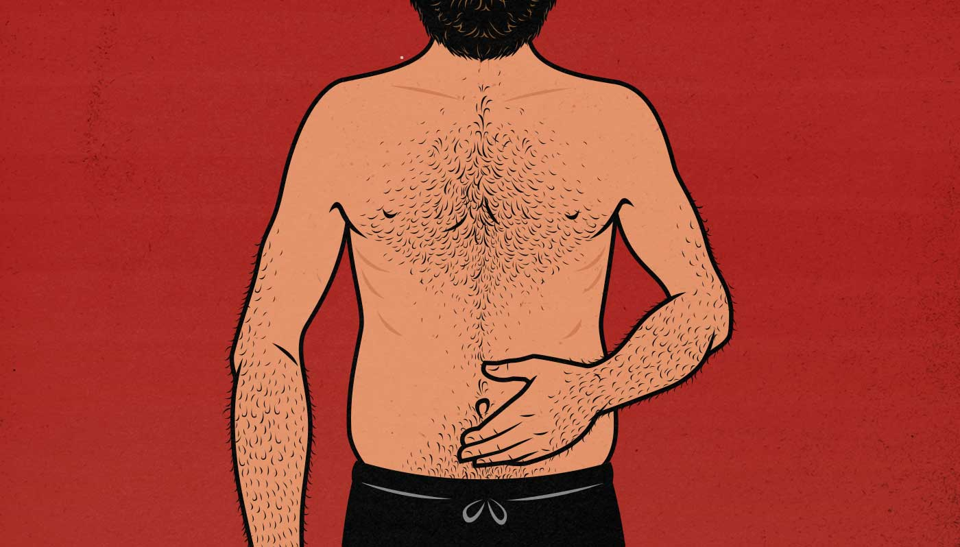 Illustration showing a skinny man with belly fat.