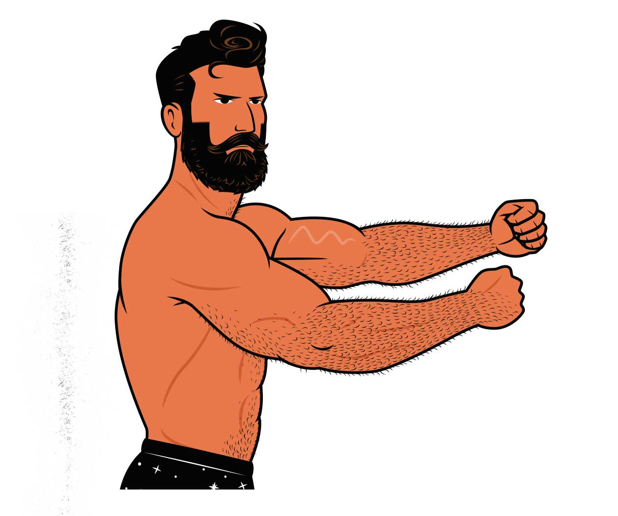 Illustration of a man building bigger forearms with forearm workouts.