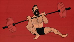 Illustration of a man failing while doing a squat.