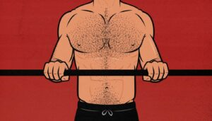 Illustration of a man doing the close-grip bench press