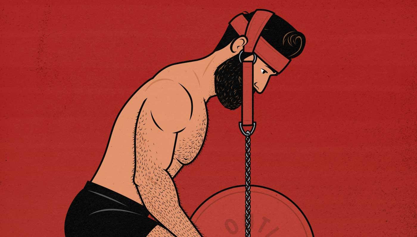 Illustration of a man doing the GreySkull LP program for mass gain.