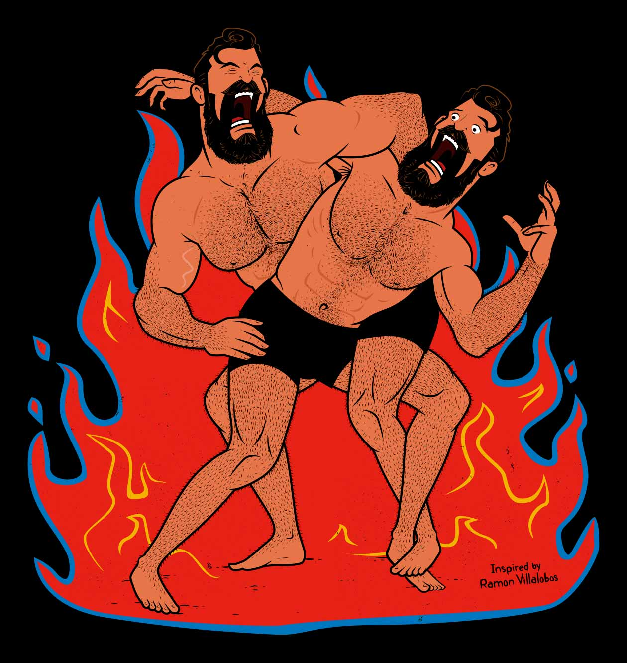 Outlift Illustration of two bodybuilders wrestling.