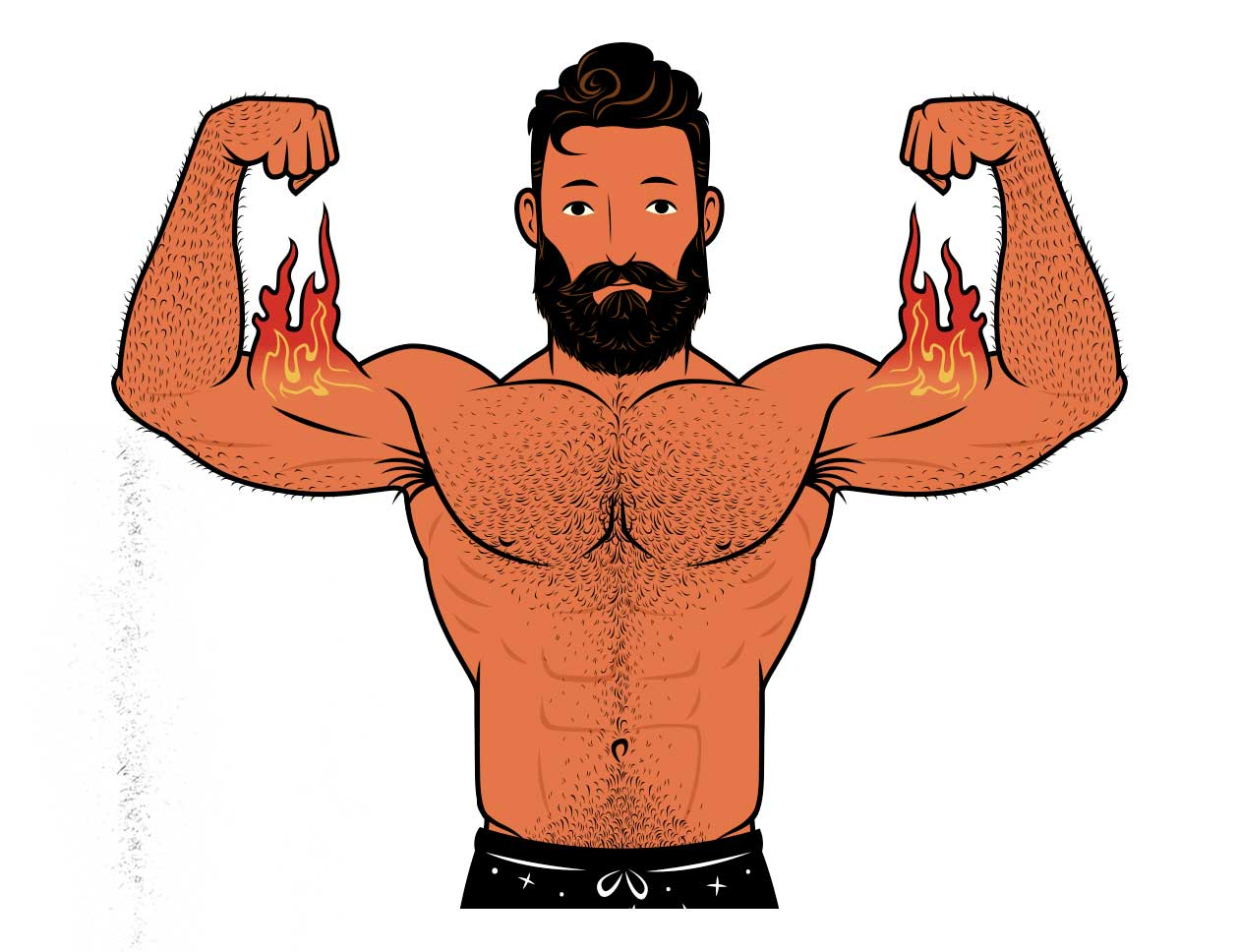 Illustration of a bodybuilder building muscle with 4-day workout routines.