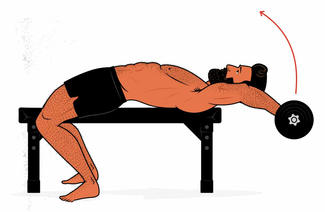 Illustration showing how to use the barbell pullover as an alternative to the lat pulldown.