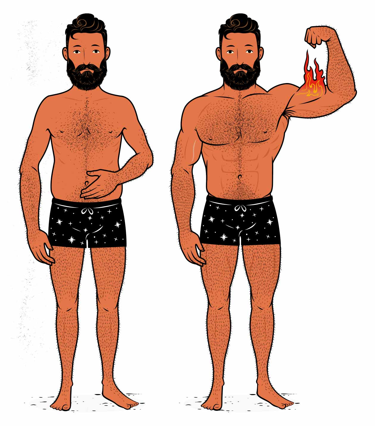 Illustration of a man building muscle by optimizing his lifting tempo, lifting the weights explosively and then lowering them slowly and under control.