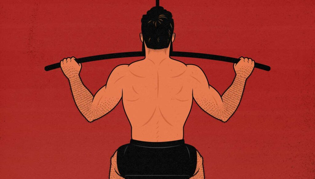 Illustration showing a man doing a lat pulldown.