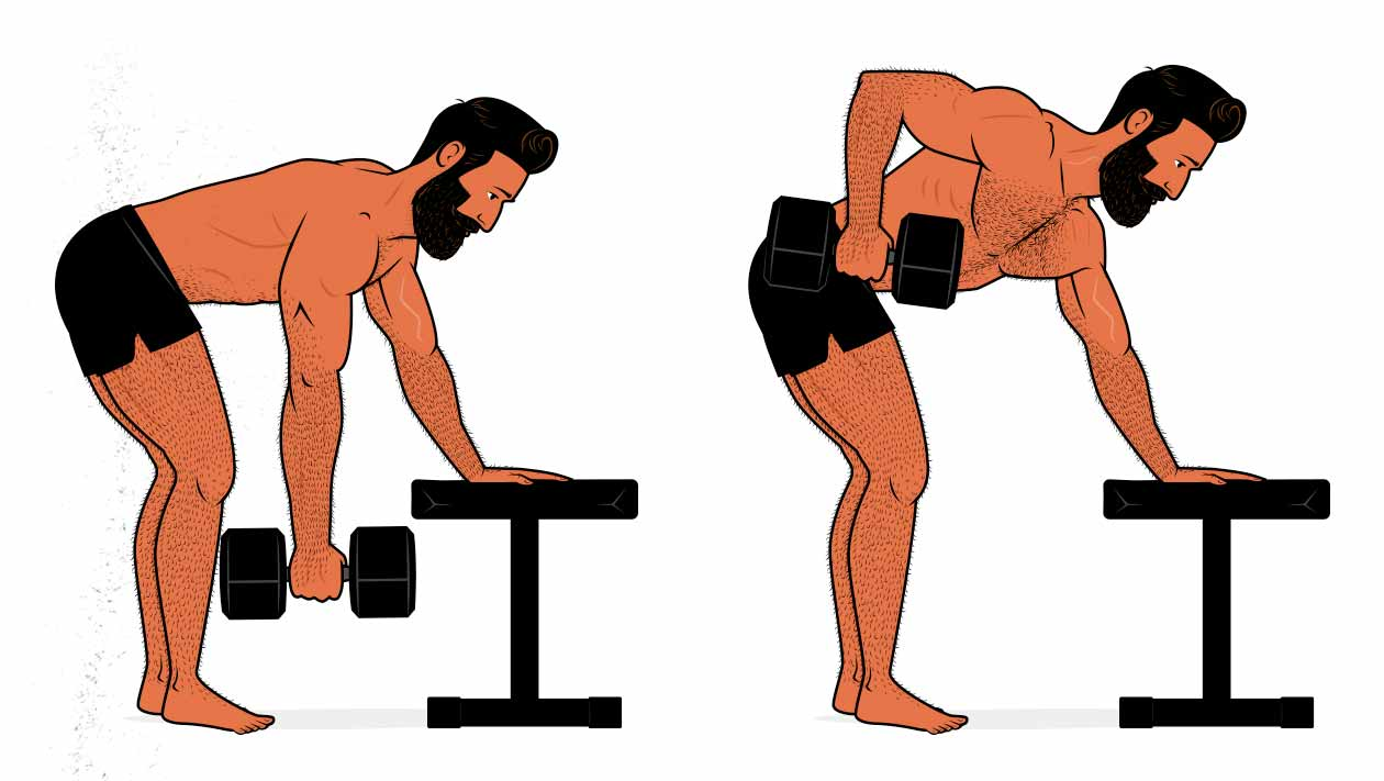 Illustration showing how to do the dumbbell row to build a bigger upper back.