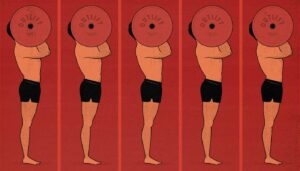 Illustration of a man doing high-frequency training, working out his muscles every day.