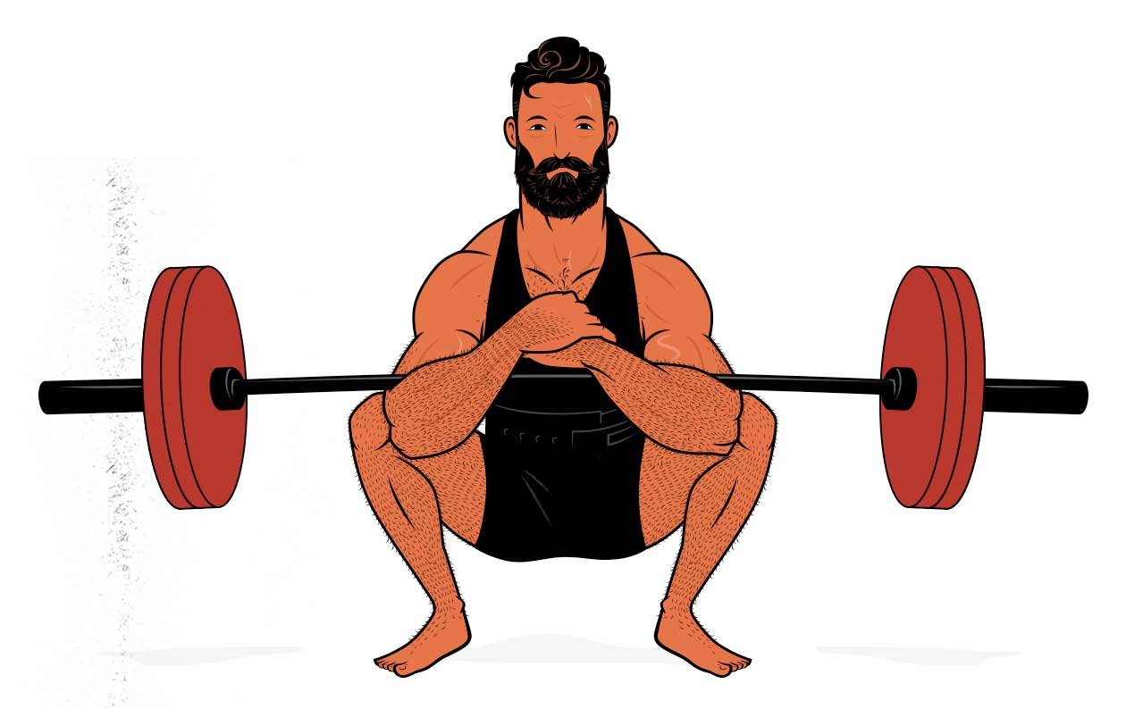Illustration of a man doing the Zercher squat