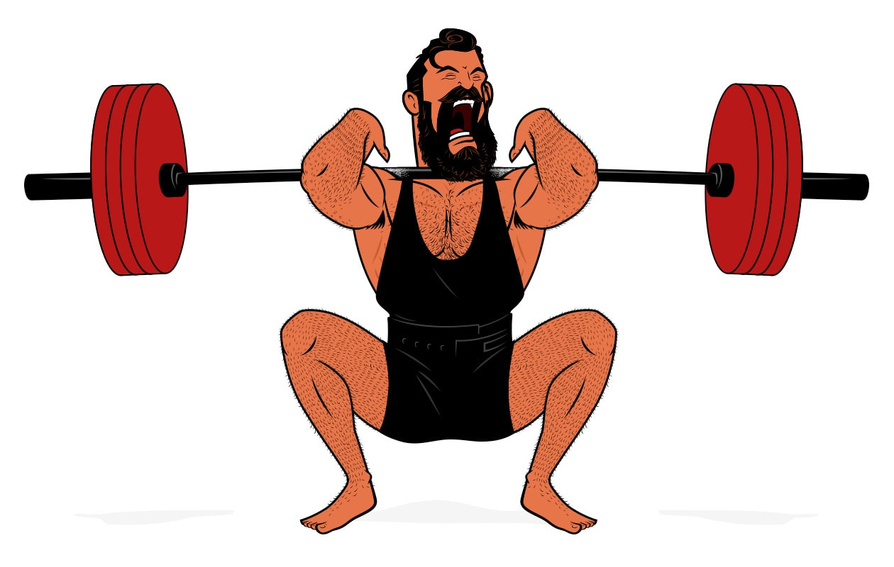 Illustration of a bodybuilder squatting to train his legs.