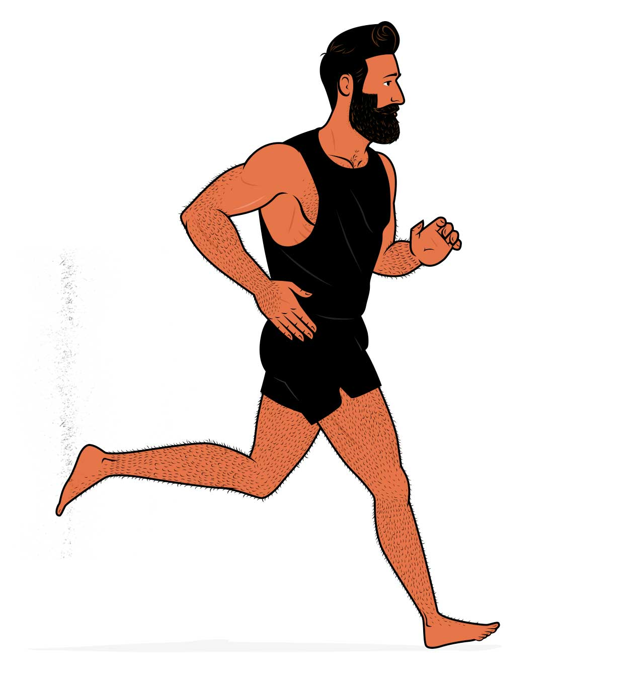 Illustration of a bodybuilder doing cardio while building muscle.