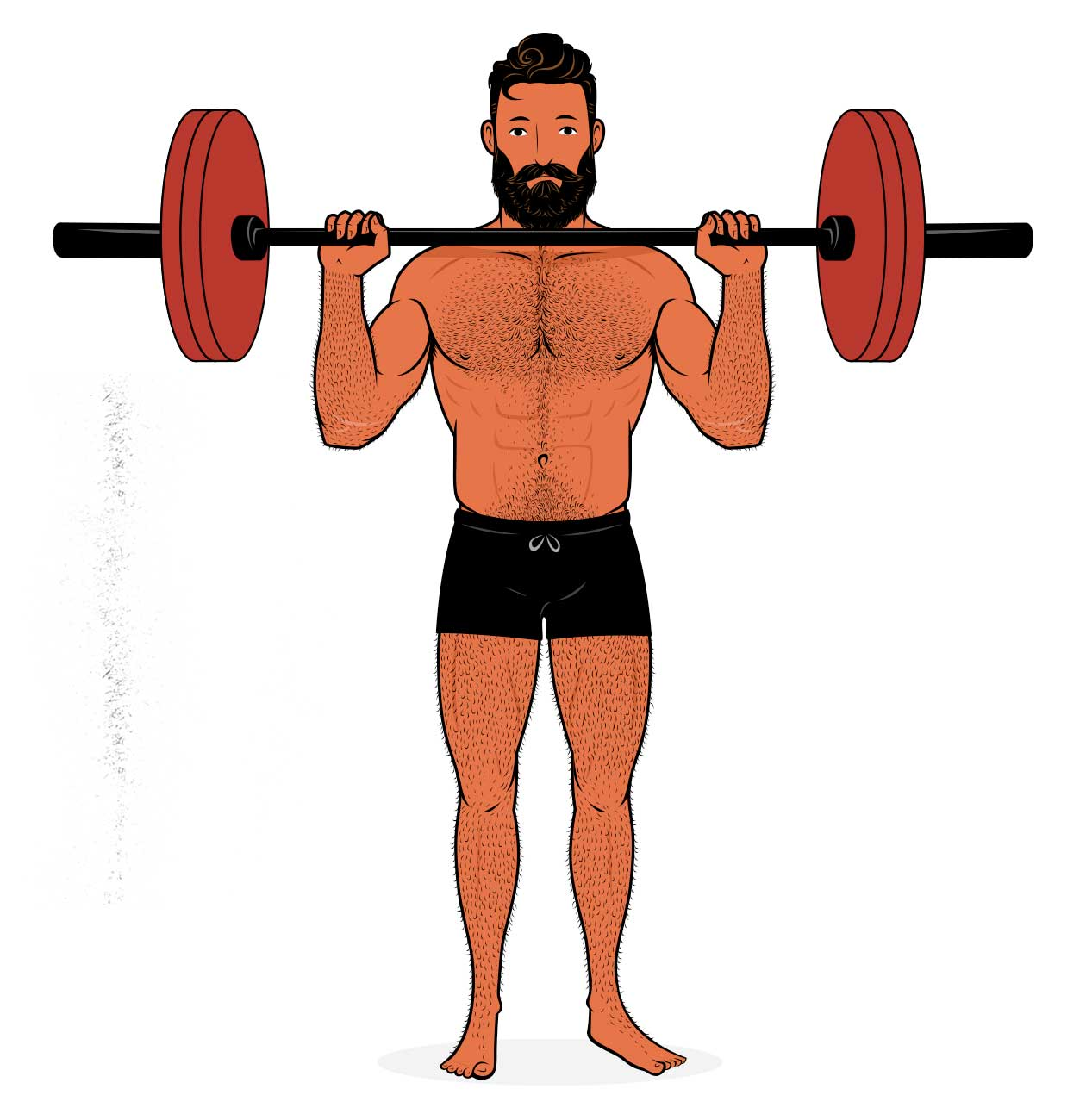 Illustration of a man working out his shoulders with the overhead press.