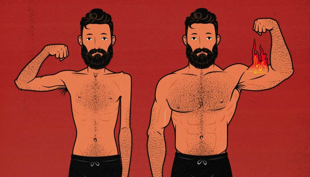 Illustration of a skinny guy's before and after results from doing a lean bulk.
