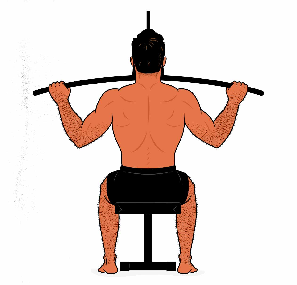 Illustration showing a man doing the lat pulldown exercise.