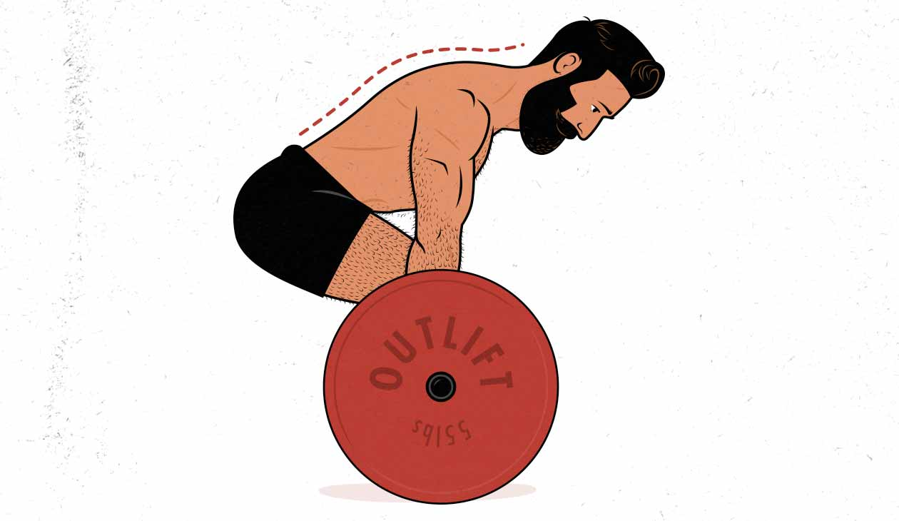 Illustration of a man deadlifting for muscle growth, using a bodybuilding lifting tempo, lowering it slowly and under control.