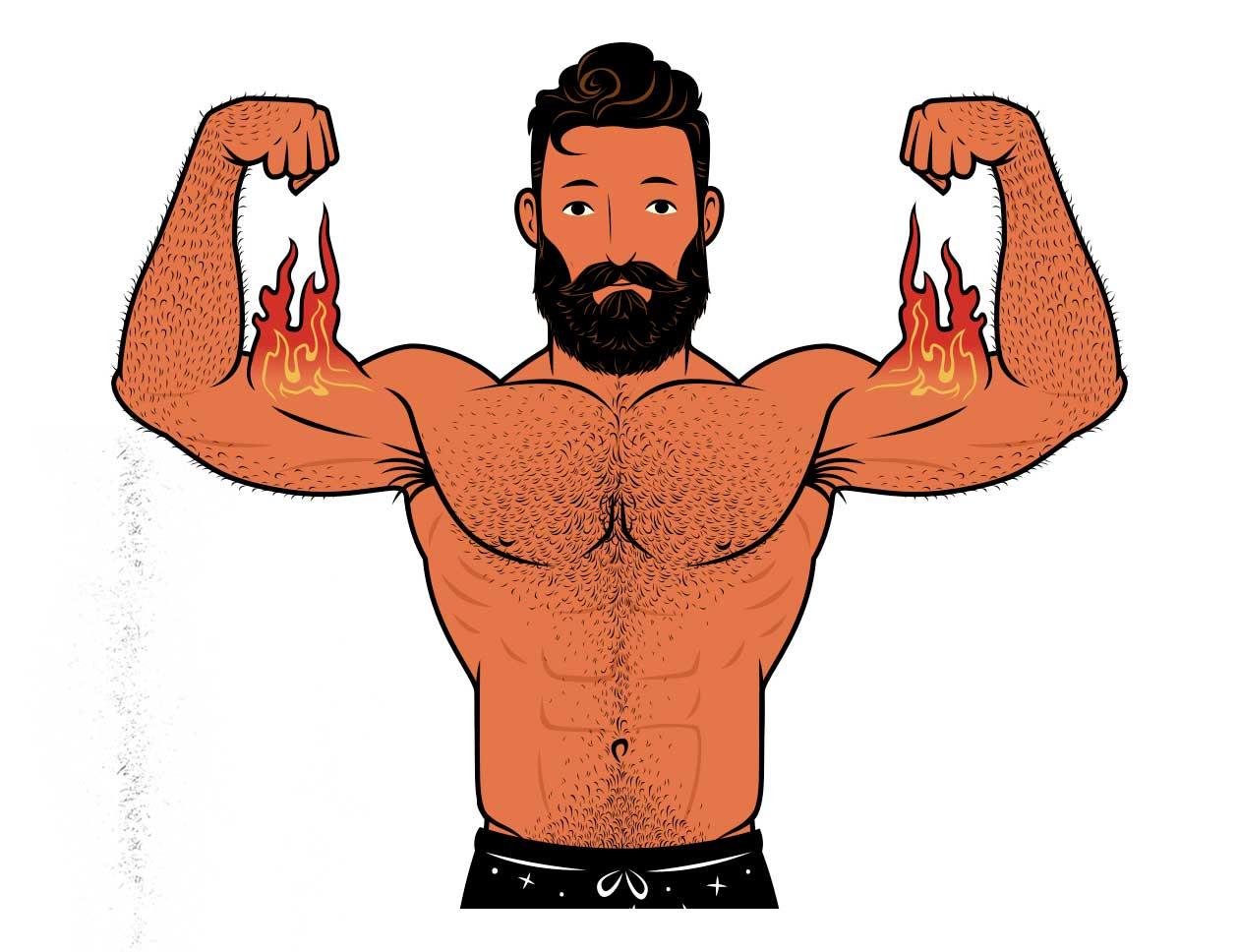 Ilustración de Outlift, de un hombre flexionando sus bíceps.