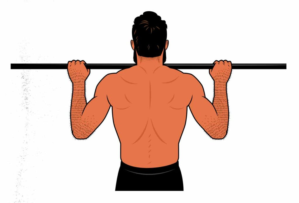 Illustration showing how the pull-up is a good replacement for the lat pulldown.
