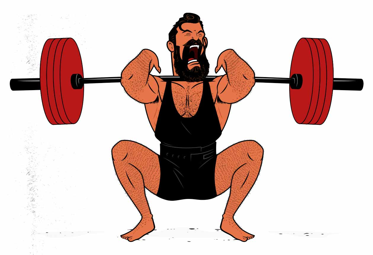 Illustration of a bodybuilder squatting with a fast, explosive weight lifting tempo.