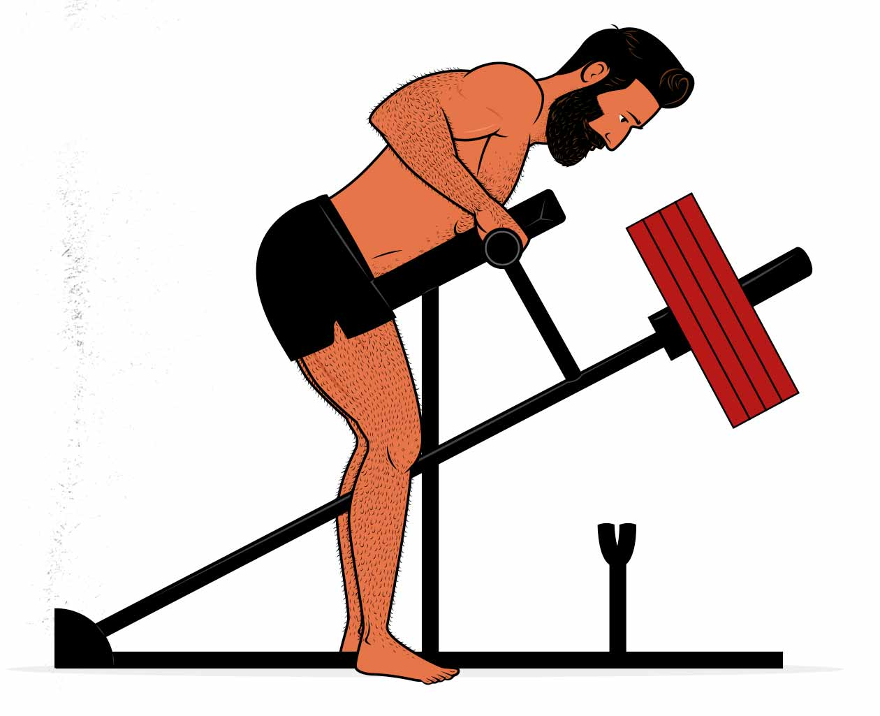 Illustration showing a man doing a row on a t-bar row exercise machine.