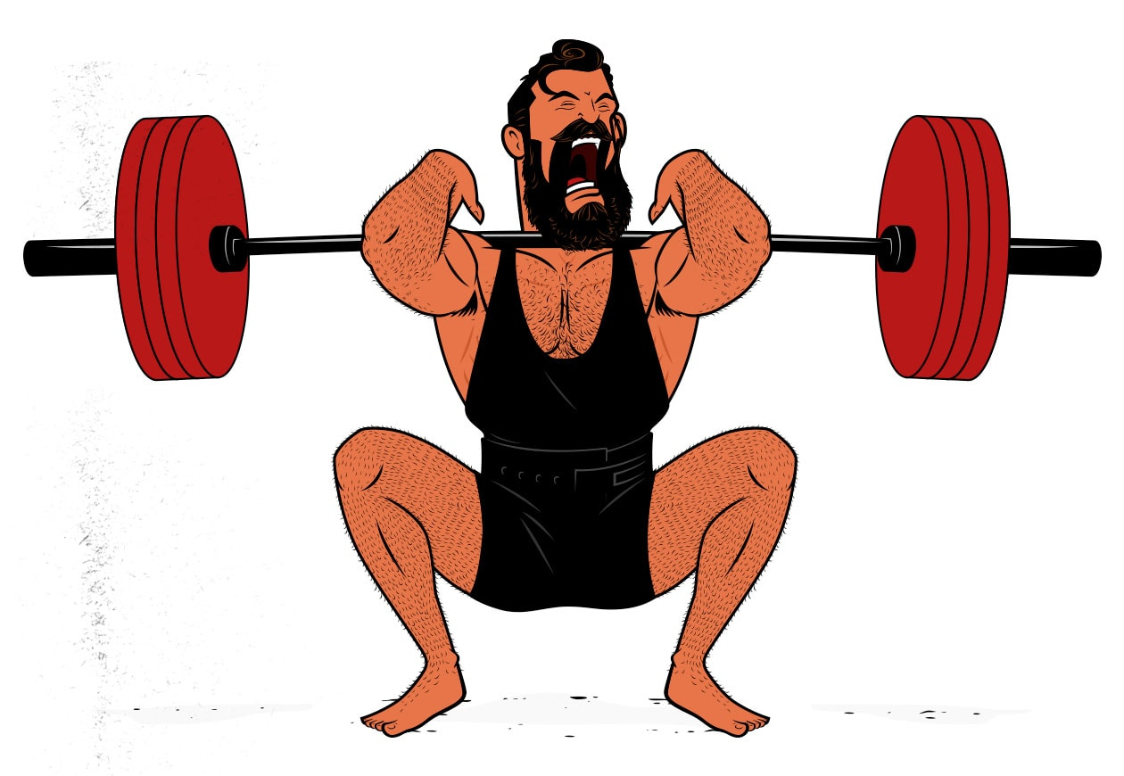 Illustration of a bodybuilder doing front squats to gain muscle mass.