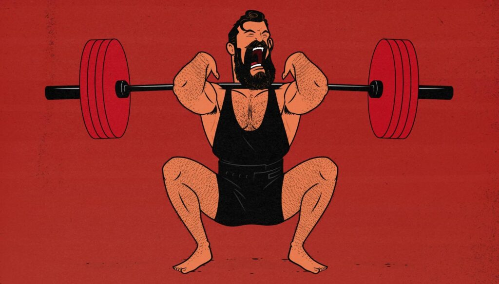 Illustration of a man doing a squat with a fast lifting tempo to build muscle faster.