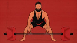 Illustration showing a man doing a barbell deadlift, one of the best compound lifts for building muscle.
