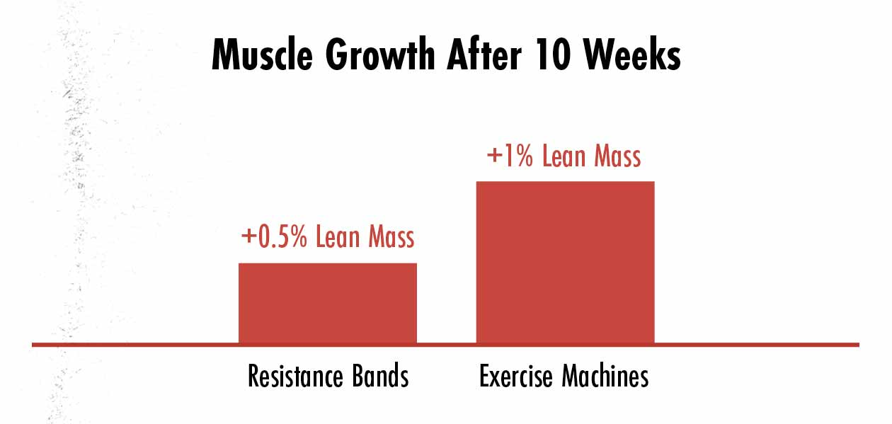 Graph showing the differences in muscle growth between resistance bands and exercise machines, with the authors concluding that there were no statistically significant differences.