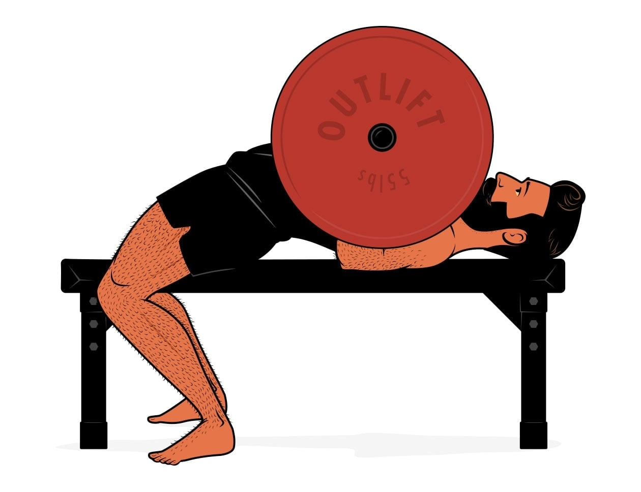 Illustration showing the bench press and how it fails to work the long head of the triceps.