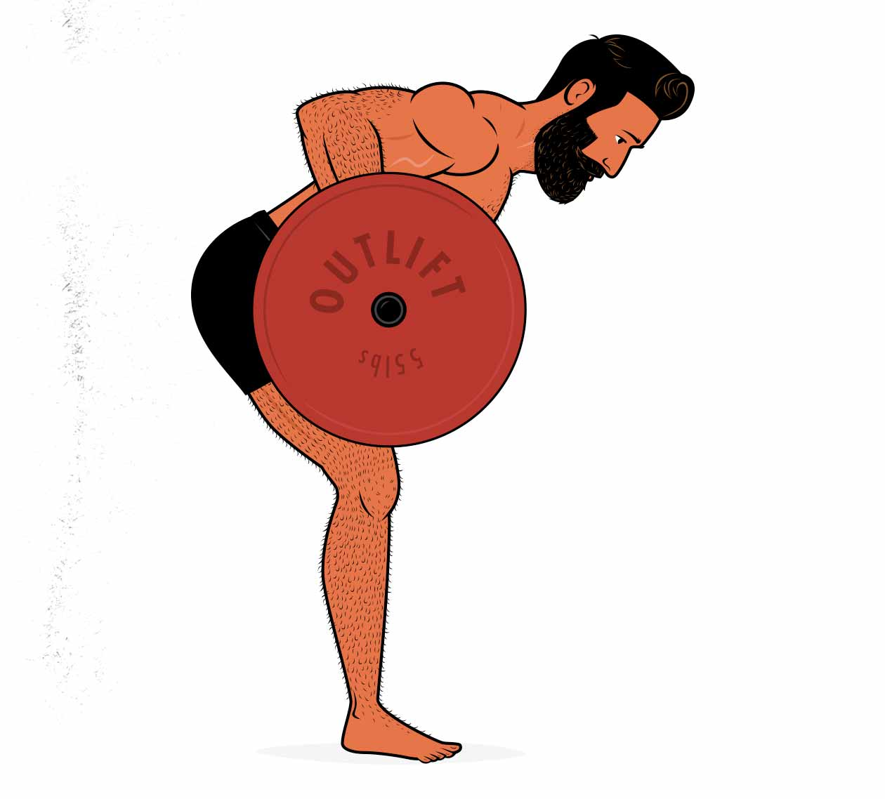 Illustration of a man doing a bent-over barbell row to build muscle in his upper back.