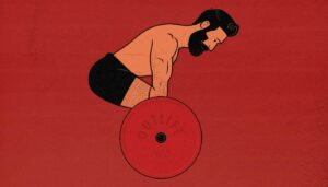 Illustration of a man doing a conventional barbell deadlift, one of the best exercises for building muscle.