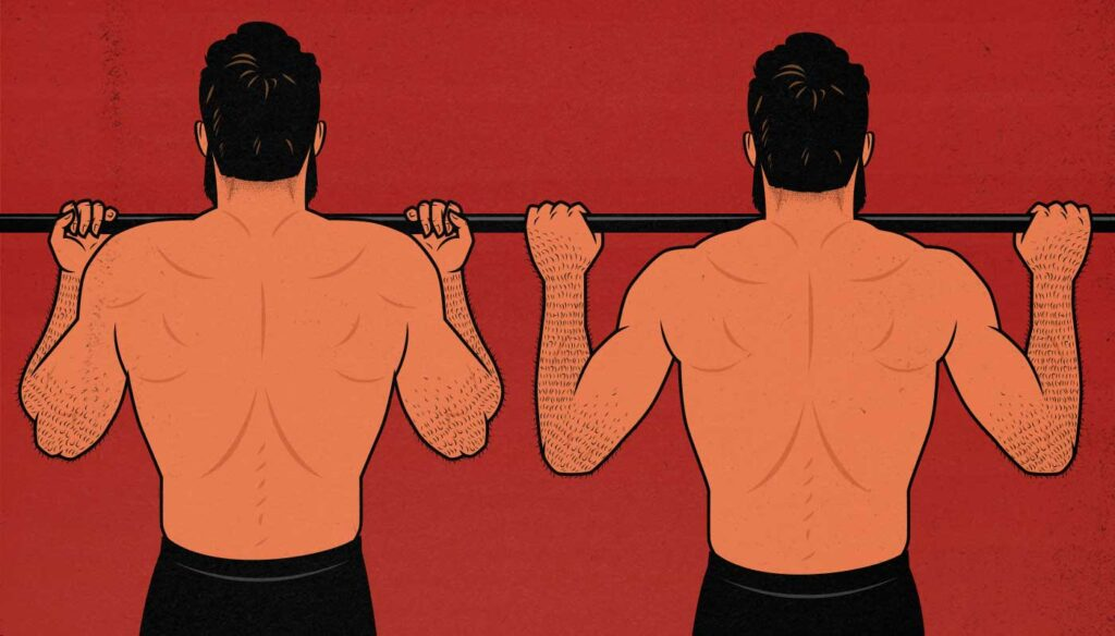 Illustration showing the difference between chin-ups and pull-ups.