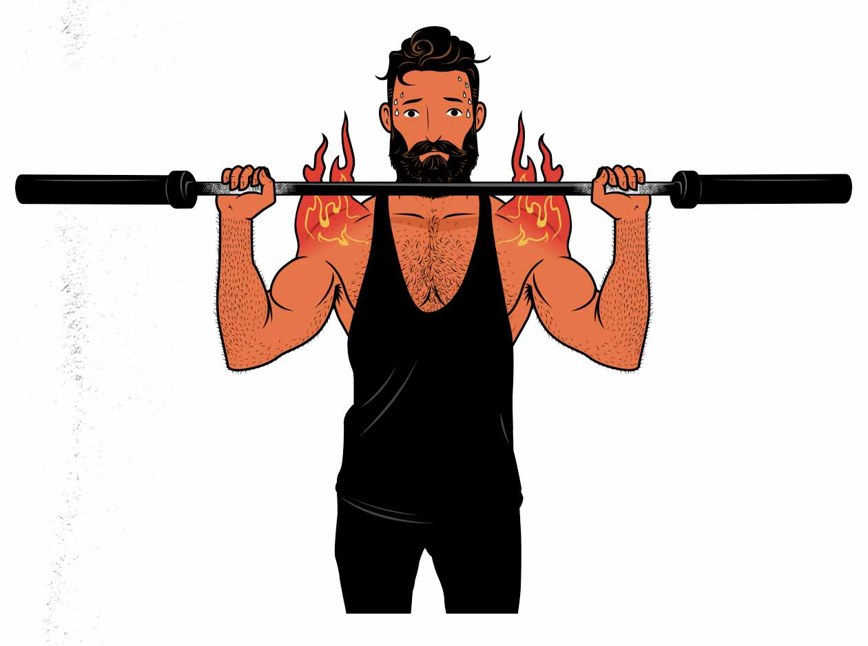 Illustration of a man doing drop sets to build muscle.