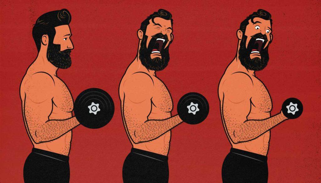 Illustration of a bodybuilder doing drop sets.