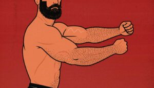 Illustration of a bodybuilder who built bigger triceps with triceps extensions.