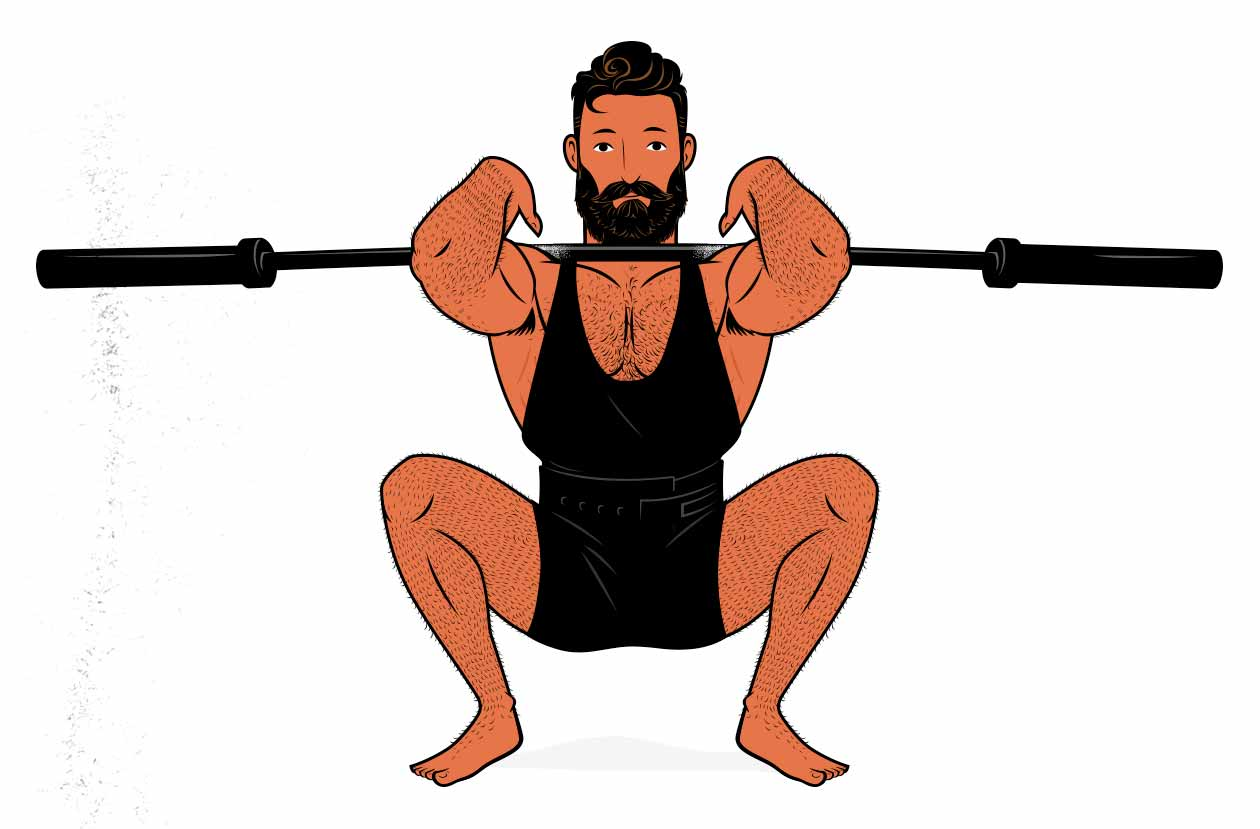 Illustration of a bodybuilder warming up before lifting weights.