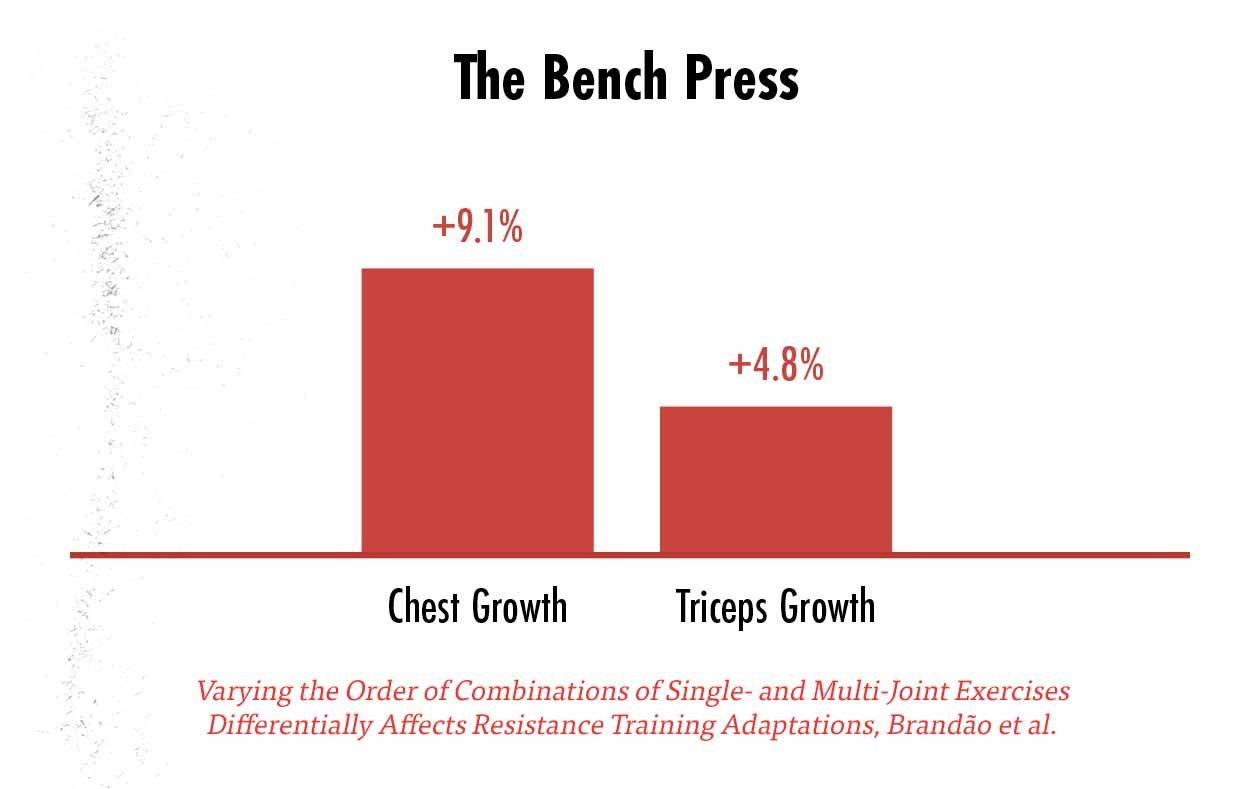 Graph showing muscle hypertrophy when training with just compound lifts.